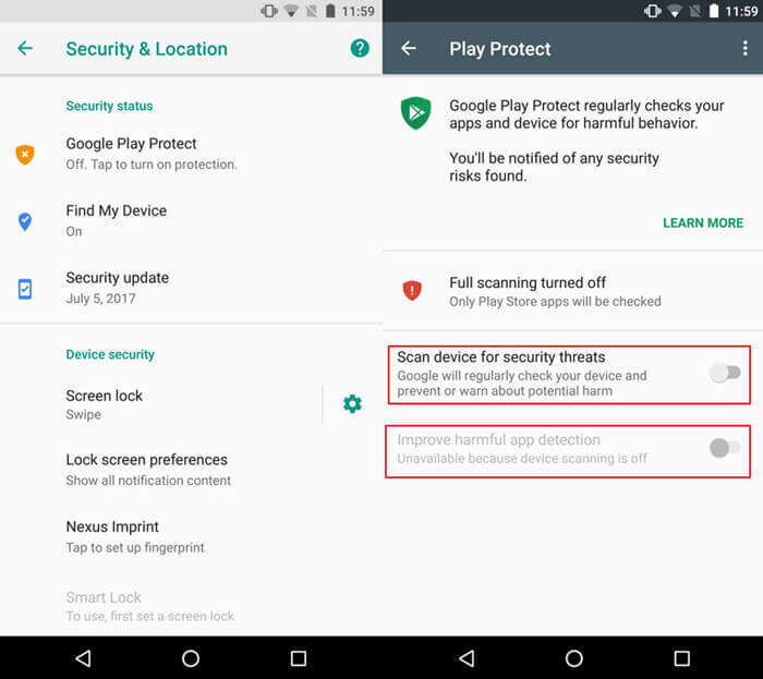 Disable Improve harmful app detection